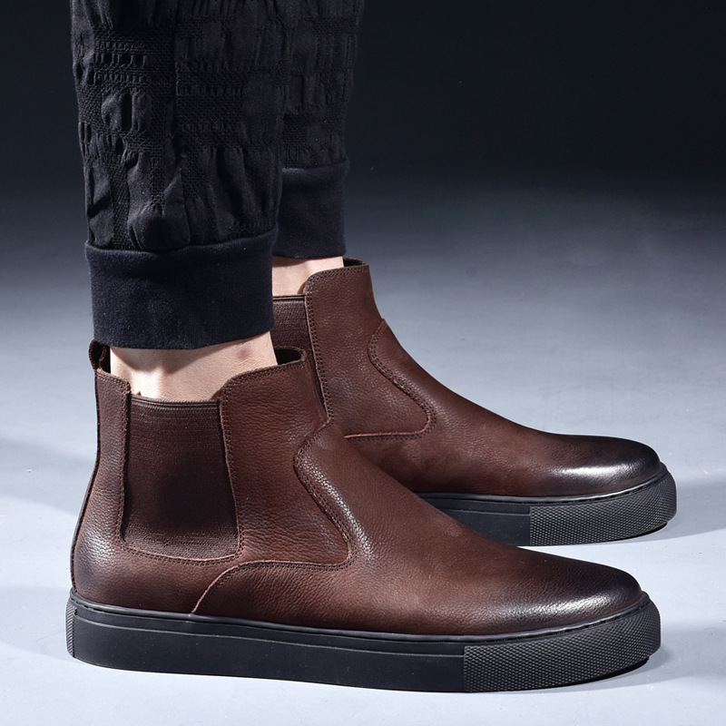 high quality mens casual cowboy boots breathable natural leather shoes flat shoe platform ankle short chelsea boot sapatos bota