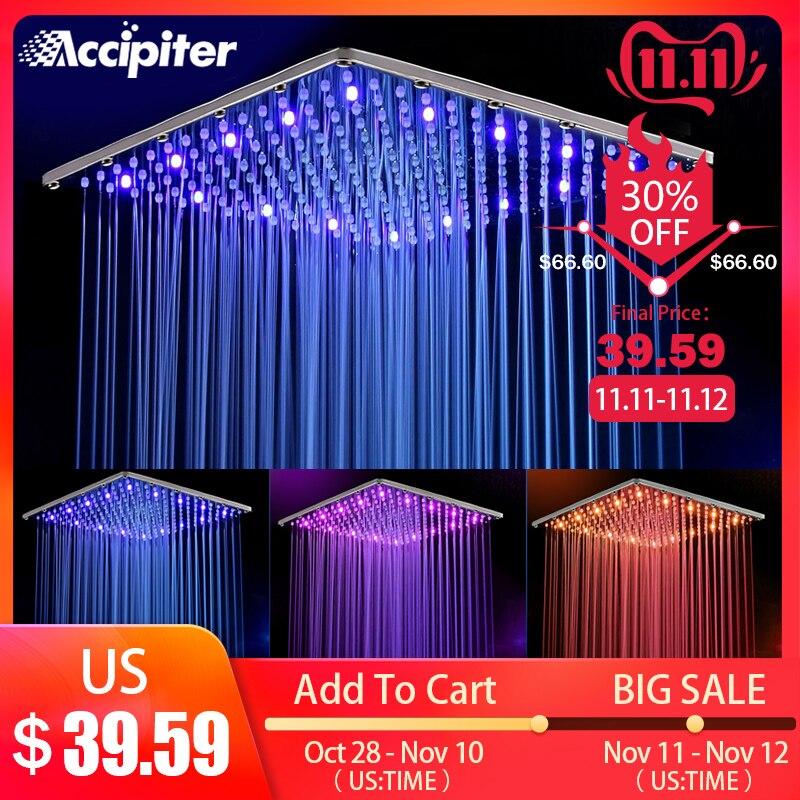 16 Inch 40cm * 40cm Water Powered  Rain Led Shower Head Without Shower Arm.Bathroom 3 Colors Led Showerhead.  Chuveiro Led.