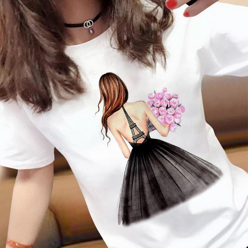 New harajuku pretty lady images Printed T Shirts Women Casual Slim White T-shirt Short Sleeve Tops Fashion Streetwear Tshirt