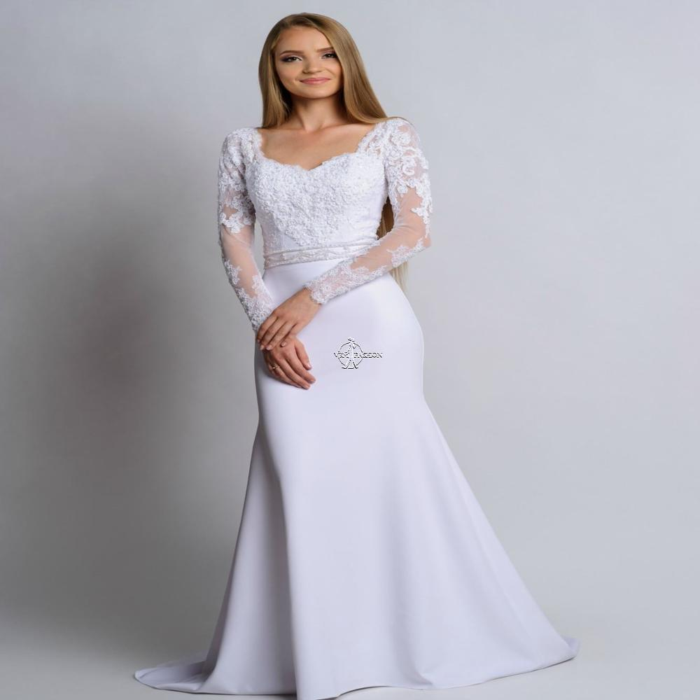 Square Neck Long Sleeves Mermaid Wedding-Dresses White Ivory Beautiful Chiffon Fishtail Bridal Gown Vestido De Noiva