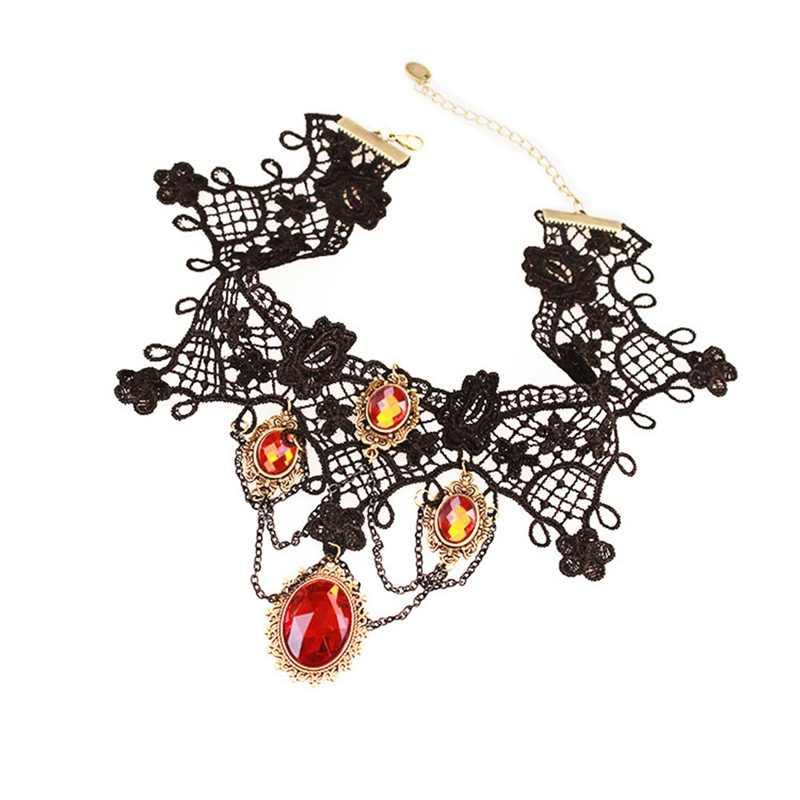 ויקטוריאני גותי ליל כל הקדושים אדום ריינסטון קסמי ערפד מקסי שרשרת קולר אופנה קוקטייל ערב המפלגה שמלת תכשיטים