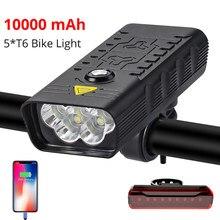 10000mah luz da bicicleta dianteira 5t6 3000 lumens luz da bicicleta usb recarregável poderosa lanterna mtb lâmpada led farol luz traseira