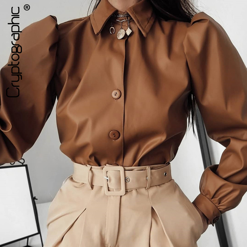 Cryptographic Matte Long Sleeve Fall Winter Womens Tops and   Blouses   Fashion Puff Sleeve Brown   Shirts   Ladies   Blouses