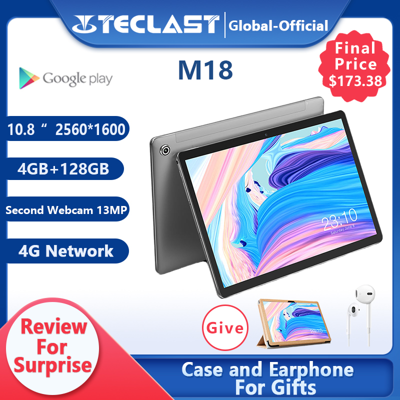 Teclast m18 tablet deca core 10.8 Polegada ips 2560 × 1600 resolução 4gb ram 128gb rom 13mp traseiro 5mp frente 4g rede chamada