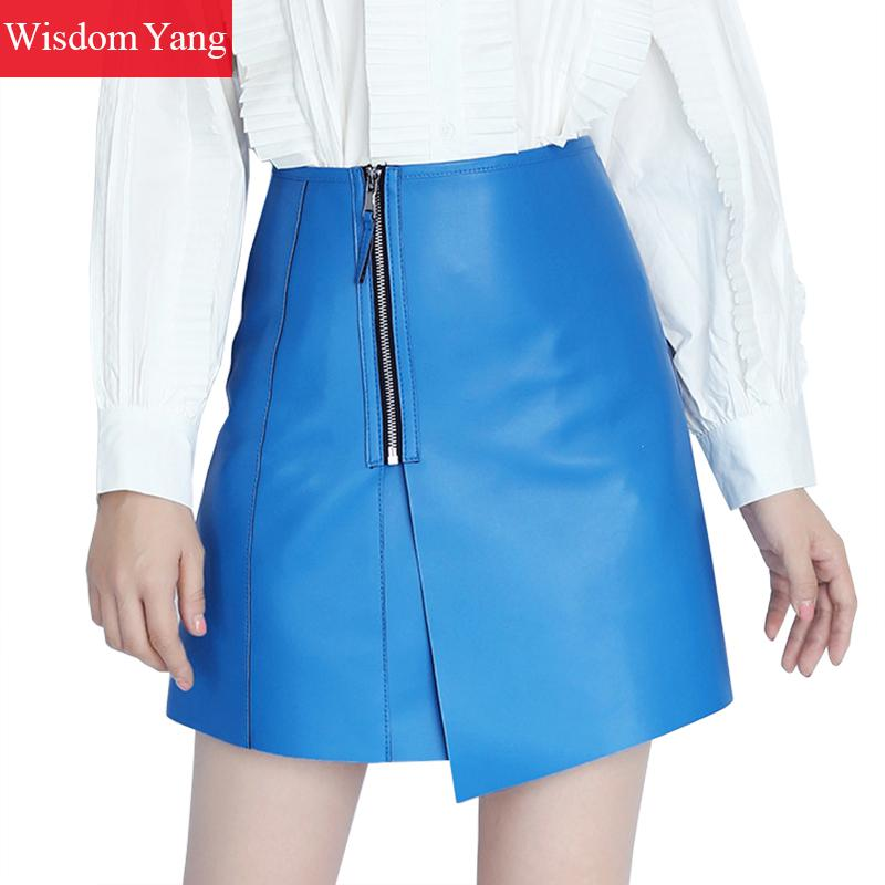 Autumn Genuine Leather Sheepskin Short Skirt Woman High Waist Skirts Womens Korean Sexy Blue Khaki Lady Mini Asymmetrical Skirt