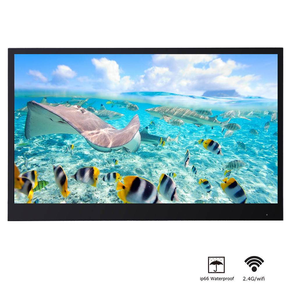 Souria 22 Inches Black Full HD Bathroom Luxury LED Smart Android TV Waterproof Decoration Hotel Used Frameless