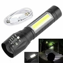 Portable T6 COB LAMPE DE POCHE LED Tactique Imperméable à l'eau USB Lanterne de Camping Rechargeable Zoomable Torche de Foyer Lampe Veilleuses
