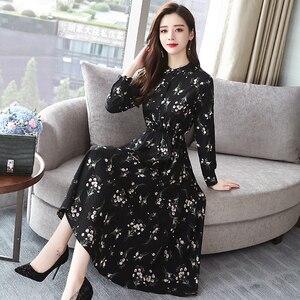 Image 3 - Jesień zima czarny Vintage, w kwiaty szyfonowa sukienka Midi Plus rozmiar sukienki w stylu Boho 2020 eleganckie kobiety strona z długim rękawem sukienka Vestidos