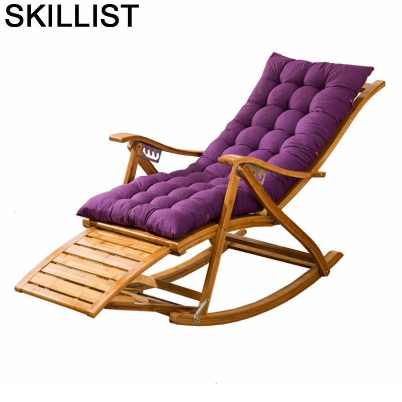Relax Sillon Dobravel Rocking Folding Bed Cama Plegable Bamboo Sillones Moderno Para Sala Fauteuil Salon Recliner Chair