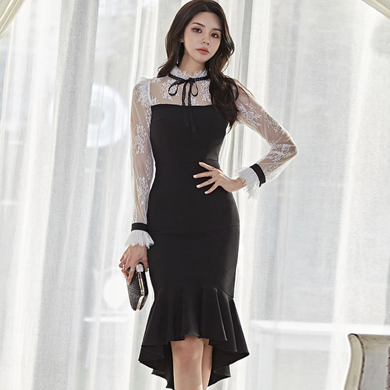 Winter Women Cloth Falre Sleeve Lace Patchwork Fishtail Mid-Calf Bodycon Sheath Sexy Stand Neck Party Dress