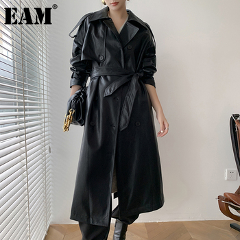 [EAM] Women Black PU Leather Long Trench New Lapel Long Sleeve Loose Fit Windbreaker Fashion Tide Autumn Winter 2021 1DD0738 1