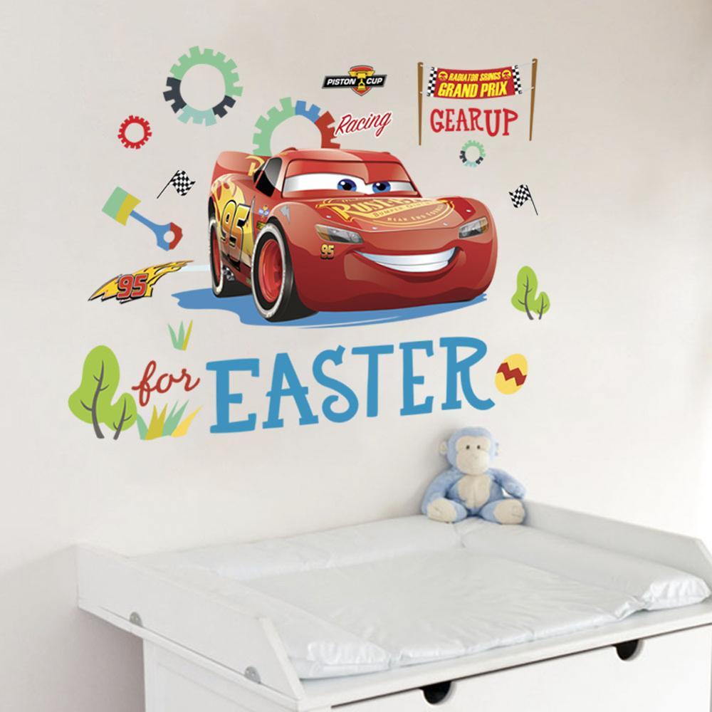 Cartoon Mcqueen Cars 3D Wall Stickers for Kids Room Boys Fake Window PVC Wallpaper Murals Sticker Decals Room Decoration Nursery 10