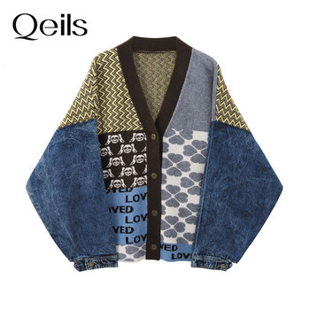 Qeils Vintage Knitted Cardigan Sweater Women Patchwork Denim Coat V Neck Long Sleeve Knitwear Casual Loose Outwear Female Tops 1