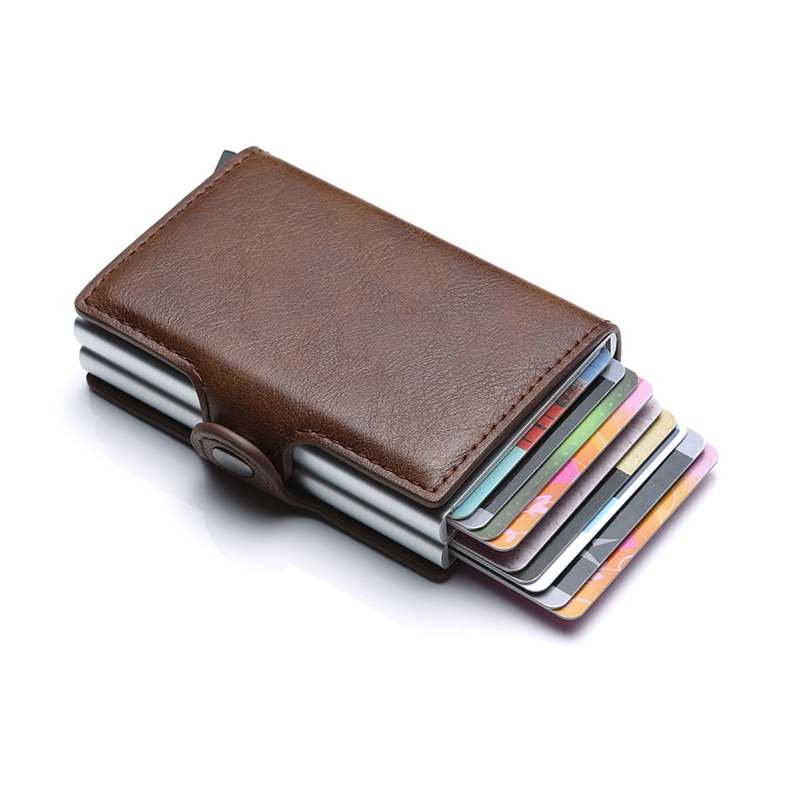 Card Bag Automatic Credit Card Coin Purse Men Wallet Back Pocket ID Cardholder Blocking Wallet Retro Coin Purse Card Pocket