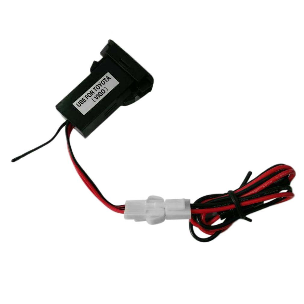 Cep telefonları ve Telekomünikasyon Ürünleri'ten Araba Şarj Cihazları'de Özel adanmış araba 5V 2.1A USB arayüzü soket şarj cihazı ve USB ses girişi soketi kullanım TOYOTA Hilux VIGO yeni title=