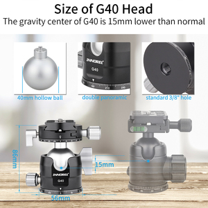 Image 5 - Low Center of Gravity Tripod Ballhead 40mm Double Panoramic U Notch Ball Head add L Quick Release Plate for Monopod DSLR camera