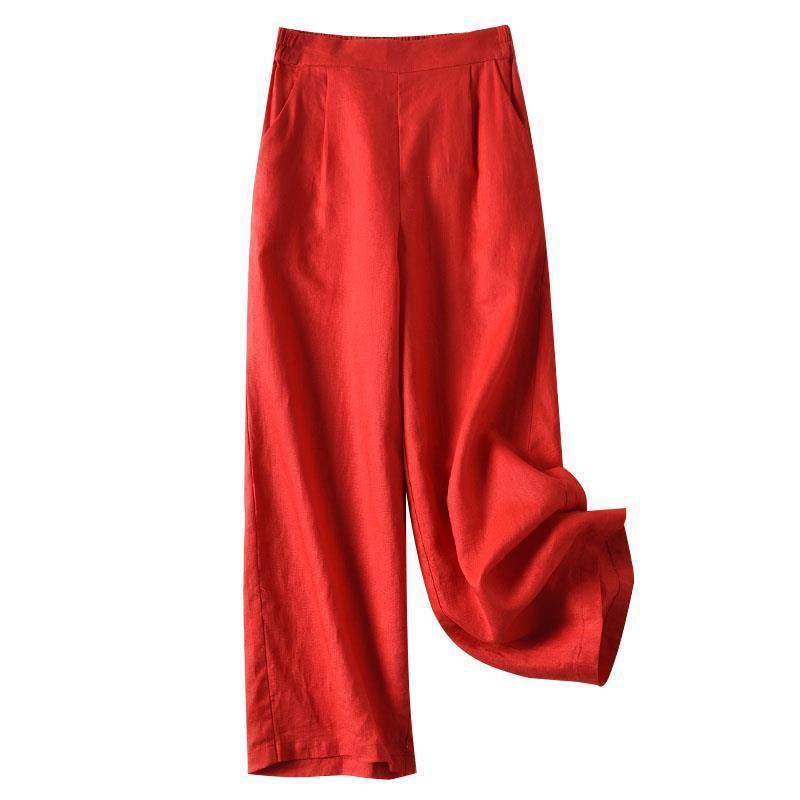 New Arrival Summer Women   Pants   Plus Size High Waist Loose Straight   Pants   All-matched Casual Cotton Linen   Wide     Leg     Pants   D163