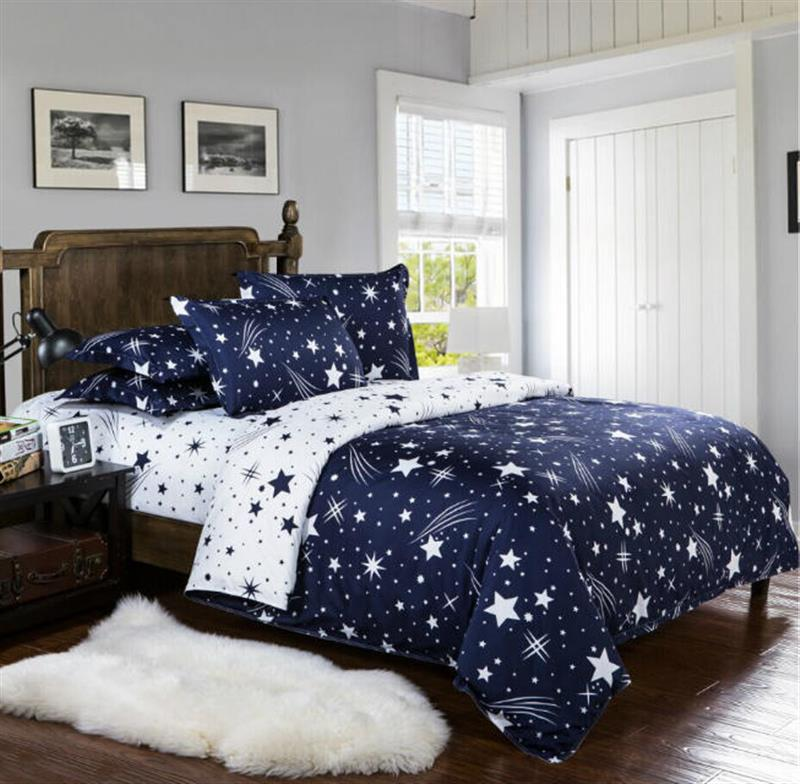 Starry Sky Bed Linens Star Bedding Sets Gift For Kids Boys Bedclothes Family Duvet Cover Set Quilt Cover Black Queen King Size