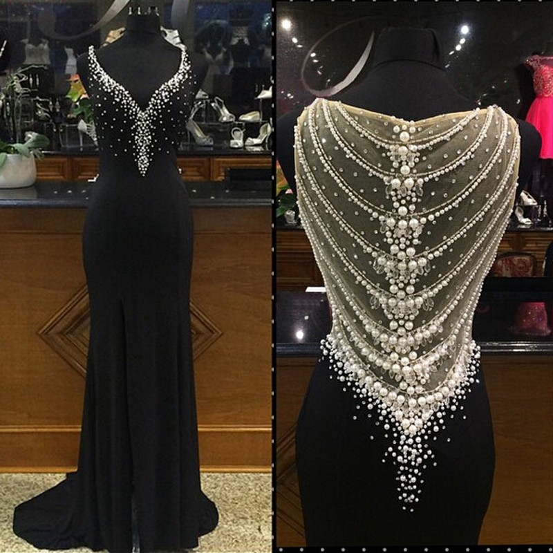 Vestido De Festa 2018 Luxury Beaded Pearls Formal Evening Gown Black Sheath Prom Long Sleeveless Mother Of The Bride Dresses
