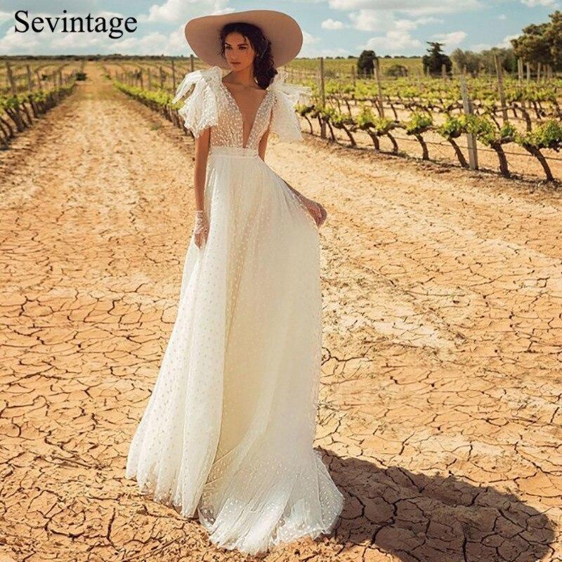 Sevintage Beach Deep V Neck Boho Wedding Dresses Sleeveless Tulle with Point Bridal Gowns Open Back Sweep Train Vestido De Noiva