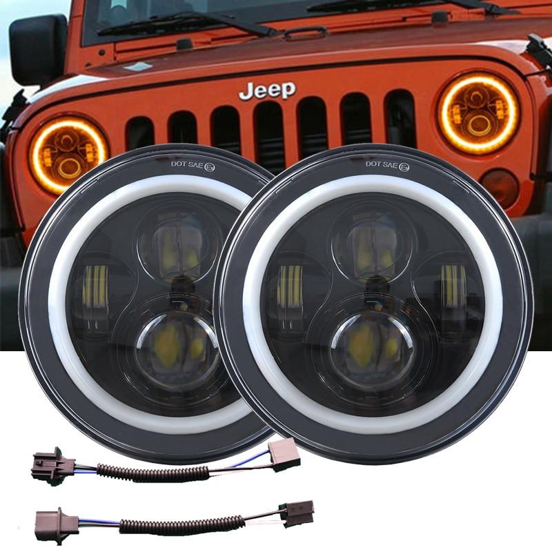 DOT 7inch Round LED Headlight //w Halo Angle Eyes For Jeep Wrangler JK LJ TJ CJ