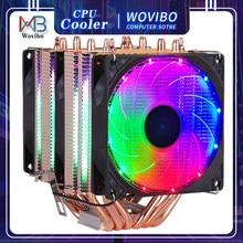 6 Heatpipes RGB CPU Cooler Radiator Silent PWM 4PIN 130W For Intel LGA 1150 1151 1155 1200 1366 2011 X79 X99 AM3 AM4 Ventilador
