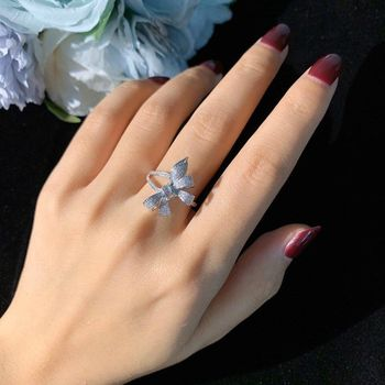 Brillian Korean style AAACZ Bowknot Women's Dating ring Wedding Engagement Bead Gift Jewelry Bijlux Tous Jewerly Phone Charm 1