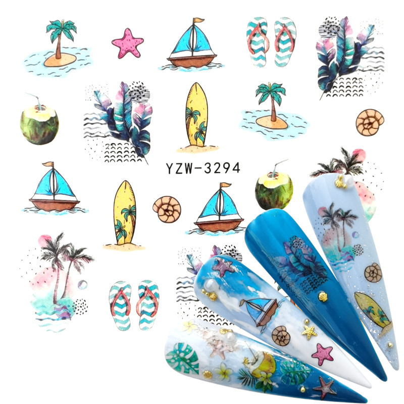 2020 New Arrival 1 PC Nail Art Summer Beach Water Design Tattoos Nail Sticker Decals For Beauty Manicure Tools