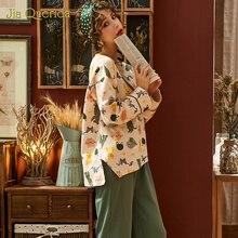 2020 Student Fashion Style Pj Set  Spring Cartoon Print Pajamas for Women Loose Split Beige Top Sleepwear Homesuit Pajama Set cartoon print pajama set