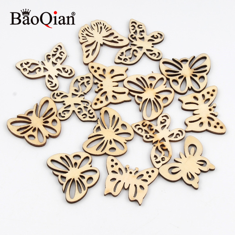 20Pcs Natual Wooden Butterfly Pattern Scrapbooking Painting Wood Craft Handmade Accessory Sewing Home Decoration DIY 32mm