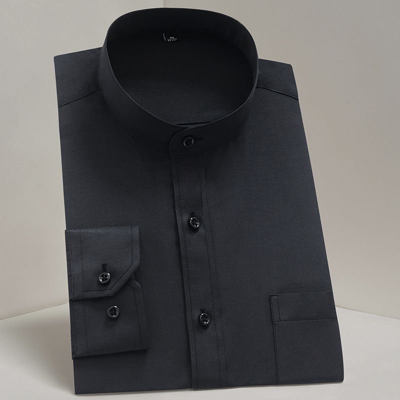 Men Fashions Shirt Men Mandarin Collar Classic Solid Camisa Social Black Foraml Work Men Wear Shirt Casual Retro Blusao Masculin