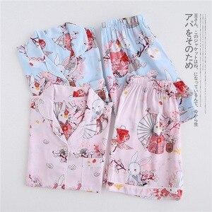 Image 3 - Verão rayon shorts pijamas conjuntos feminino pijamas japonês fresco floral manga curta conjuntos de pijamas feminino