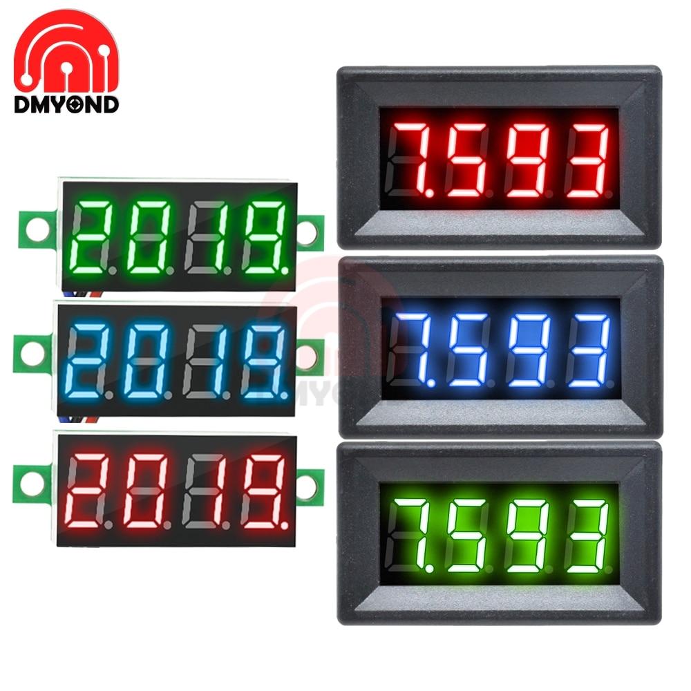 0,36 дюймов Мини цифровой вольтметр 0 100 В постоянного тока вольтметр светодиодный Электрический тестер напряжения Калибр 3 провода 12 В 24 в 48 в 4 Бит Измерители напряжения      АлиЭкспресс