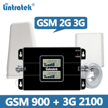 Lintratek 2G 3G Dual Band Cellular Signal Repeater 2G GSM 900/3G WCDMA UMTS 2100MHz Cellphone Signal Amplifier Booster Set @5.8