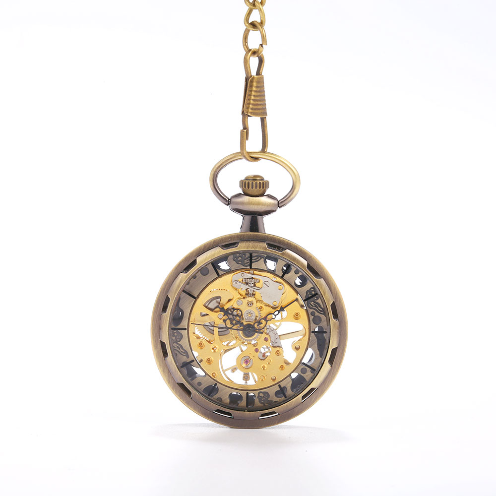 Bronze Retro Wheel Sub-scale Roman Scale Large Pocket Watch Court Creative Gift Value Exquisite Flip Pocket Watch