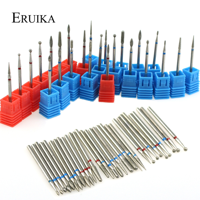 ERUIKA 29 Types Diamond Rotate Nail Drill Bit Electric Milling Burr Cuticle Clean Cutter for Manicure Machine Nail Files Tools