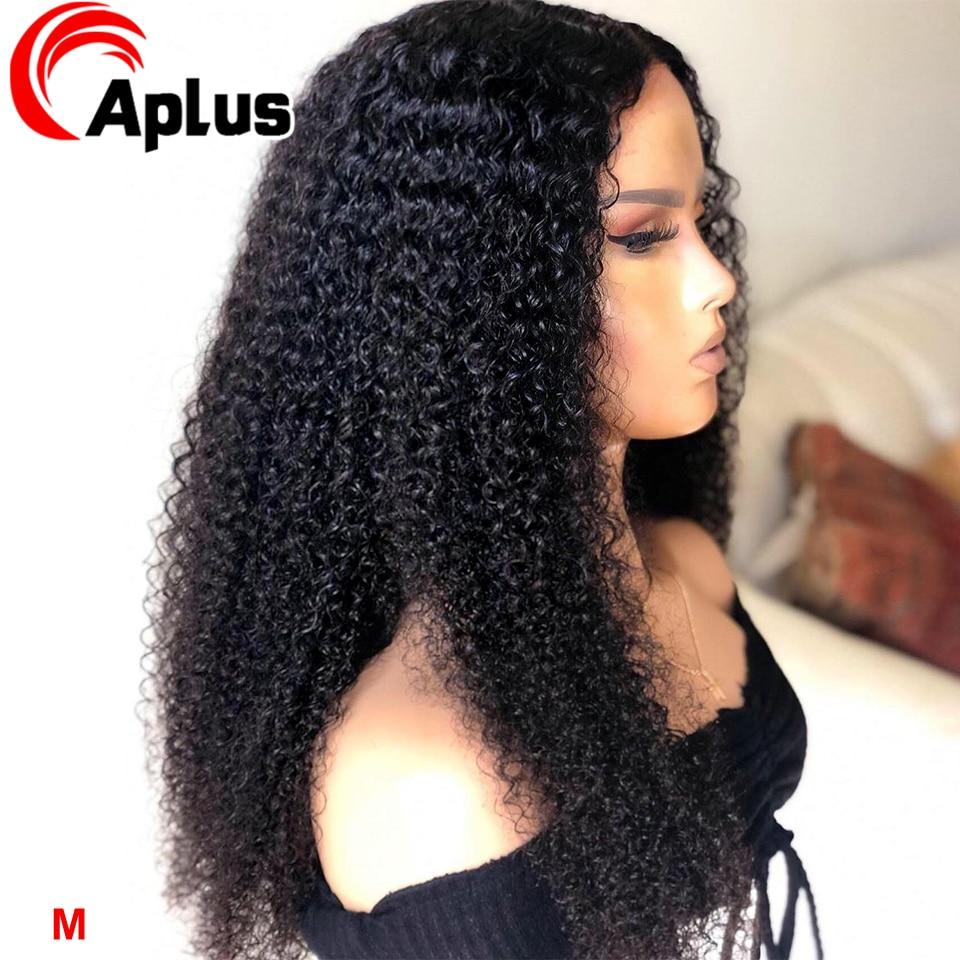 Афро кудрявый парик фронта шнурка человеческих волос парики 150% Плотность Glueless 13*4 монгольские человеческие волосы парик для черных женщин