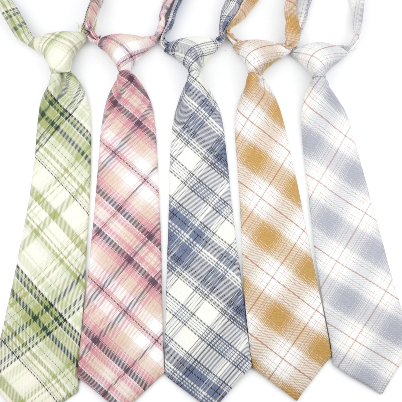 TR Fabric Student Necktie Casual Striped Girl Neckties Grid Lattice Skinny Ties Small Designer Cravat Lazy Tie