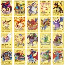 2021 novo cartão de metal pokemon pikachu charizard ouro vmax cartão coleção presente crianças jogo coleção cartões