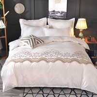 HM Life Luxury Lace Solid Color Bedding Set Duvet Cover set Pillow Cases Bed Bedclothes comforter bedding sets without bed sheet