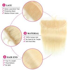 Image 4 - KÖNIGIN SCHÖNHEIT 613 Blonde Gerade Brasilianische Haarwebart Menschliches Haar Bundles mit Verschluss 3PC Remy Haar und 1PC spitze Frontal Schließung