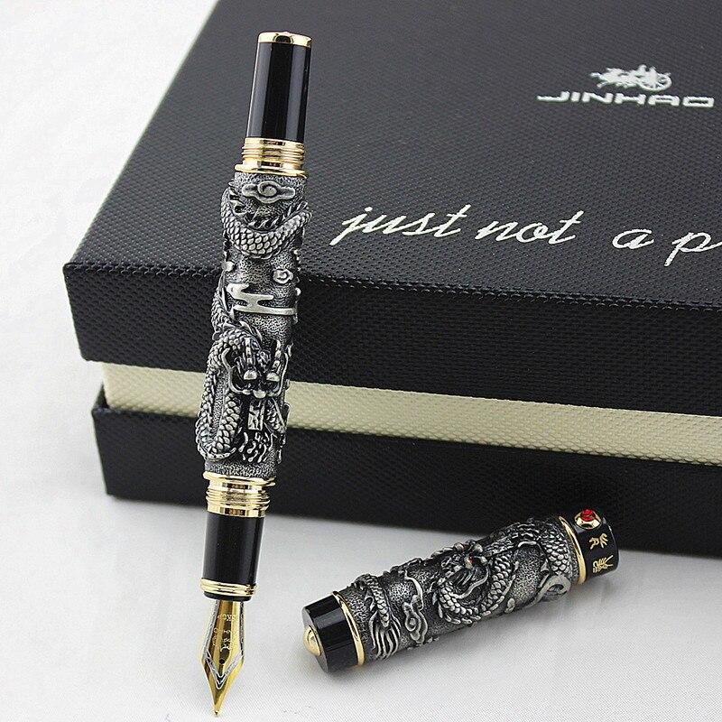 Handmade Jinhao Double Dragon Fountain Pen Iridium /F/M/Bent Nib Advanced Craft Writing Business Graduate Gift Pen