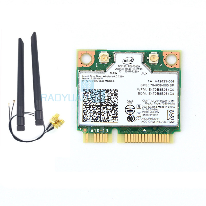 For Intel Dual Band Wireless-AC7260 7260HMW 7260AC Half Mini PCIe BT4.0 Wireless Card SPS:710661-001 For HP EliteBook840
