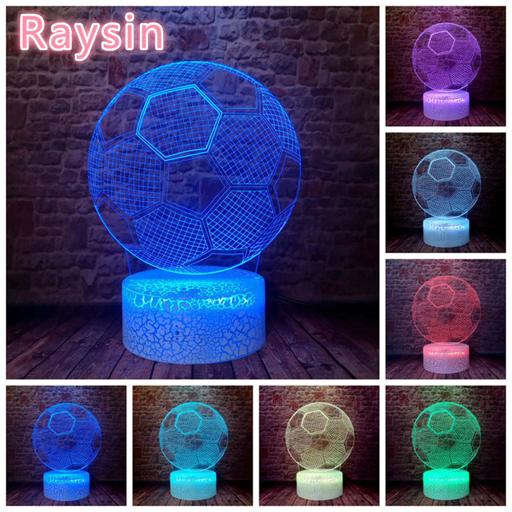 Modern Colorful Football Shape LED Night Light For Children Gifts Lamp Party Decoration Gifts Christmas Holiday Supply For Kids
