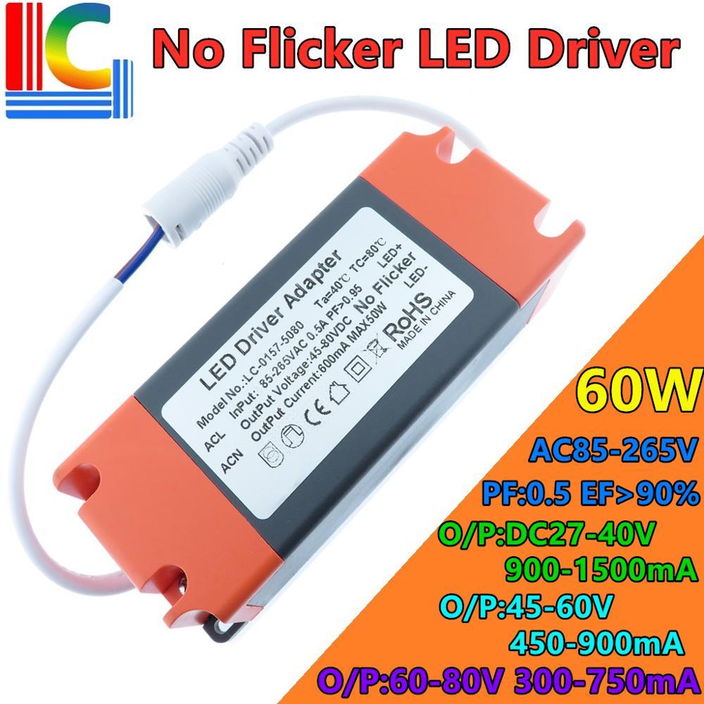 Без мерцания СВЕТОДИОДНЫЙ Драйвер 36 Вт 40 Вт 42 Вт 48 Вт 54 Вт 60 Вт преобразователь переменного тока в постоянный, Мощность поставить 450mA 600mA 900mA с...