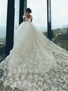 Image 2 - 2019 vestidos de casamento rendas cristal faixas vestidos de noiva boné mangas varrer tain vestidos de novas