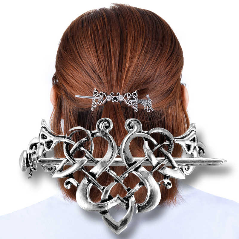 Viking Hair Hairpins Jewelry Large Celtics Knots Crown Vintage Style Gold Nordic Mythology Hair Clip Wedding Hair Accessories