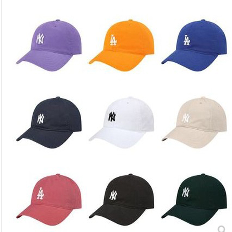 Soft Top Small Icon NY Gold Labeled MLB Baseball Cap Men And Women College Style La Apricot Lan Hong Huang White Purple Powder K