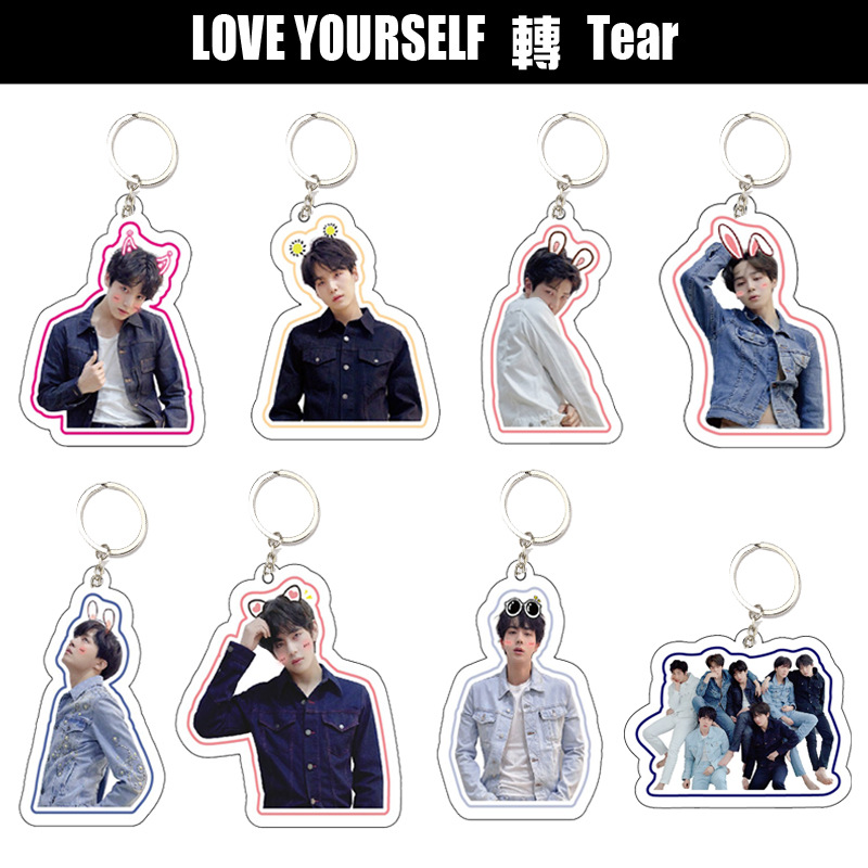 Kpop Bangtan Boys Keychains Pandent LOVE YOURSELF TEAR Album Fashion Kpop Bangtan Boys Key Chain Ring New Arrivals
