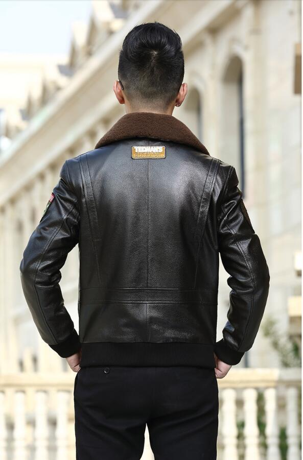 Geniunel Leather Bomber Jacket Men Real Cow Leather Down Cotton Winter Warm Thickening Camperas NR1071 MF408